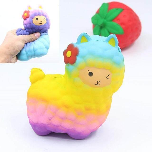 Hình ảnh 17CM Jumbo Colorful Rainbow Popcorn Alpaca Doll Squishy Toys Animal Sheep Cartoon Phone Strap Decor Soft Slow Rising Kid Toy - intl