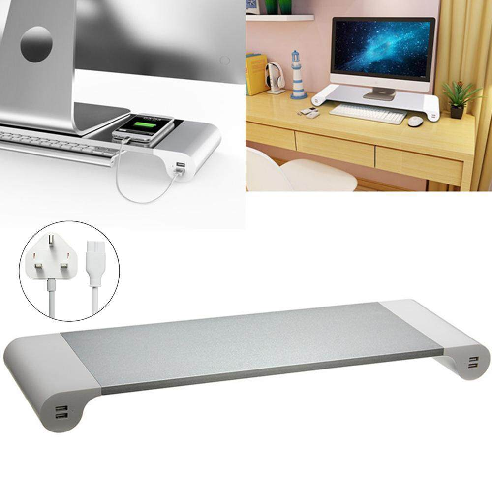 Womdee [UK PLUG]A Set Of 2 Aluminum Alloy Laptop/ Monitor Stands With USB Charging Port - intl