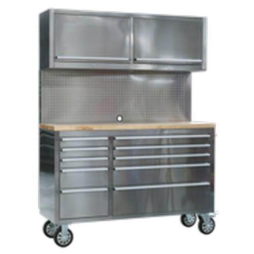 (Pre-order) Sealey Mobile Stainless Steel Tool Cabinet 10 Drawer with Backboard & 2 Wall Cupboards