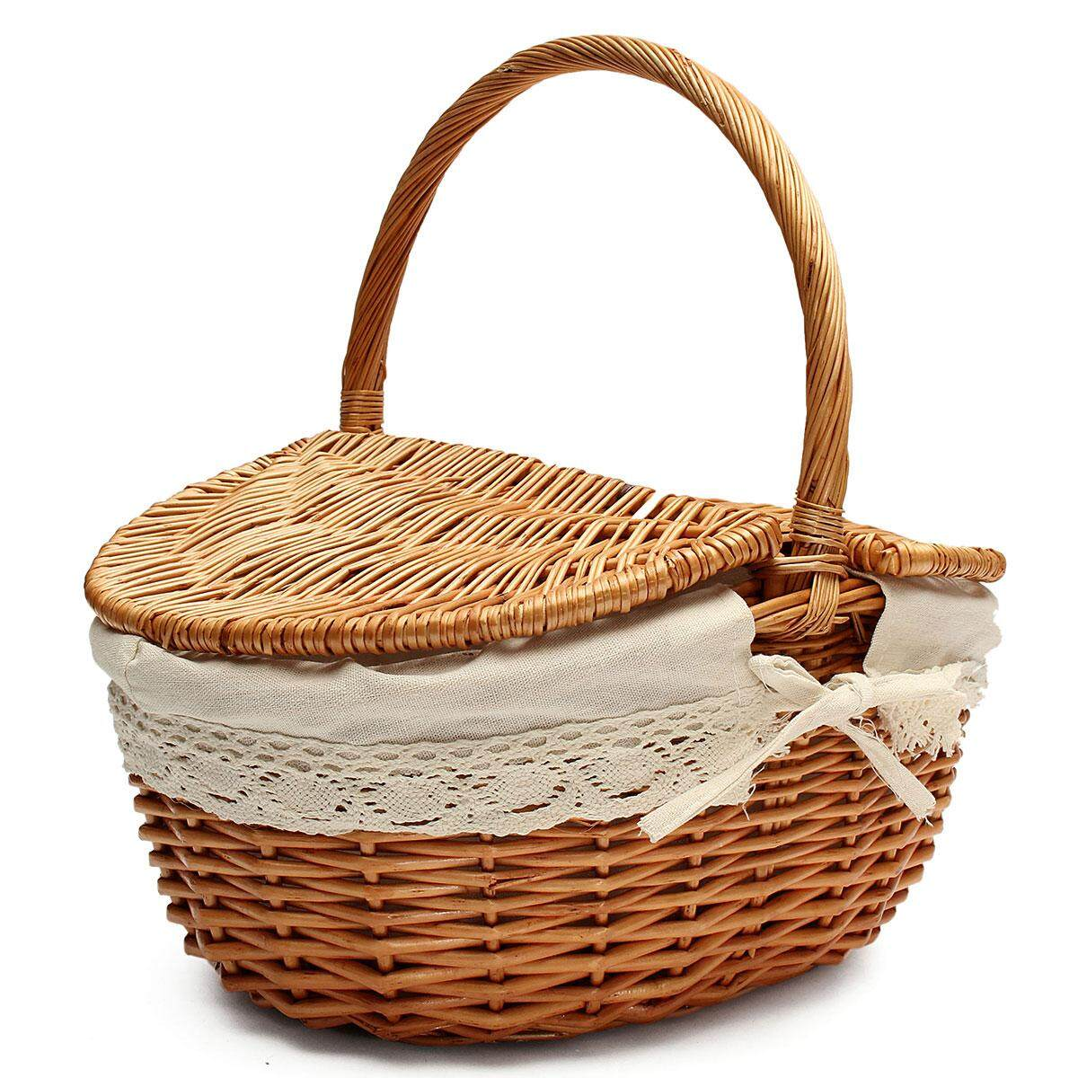 Up To 10kg Wicker Hand Picnic Storage Basket Shopping Hamper With Lid And Handle - Intl By Threegold.