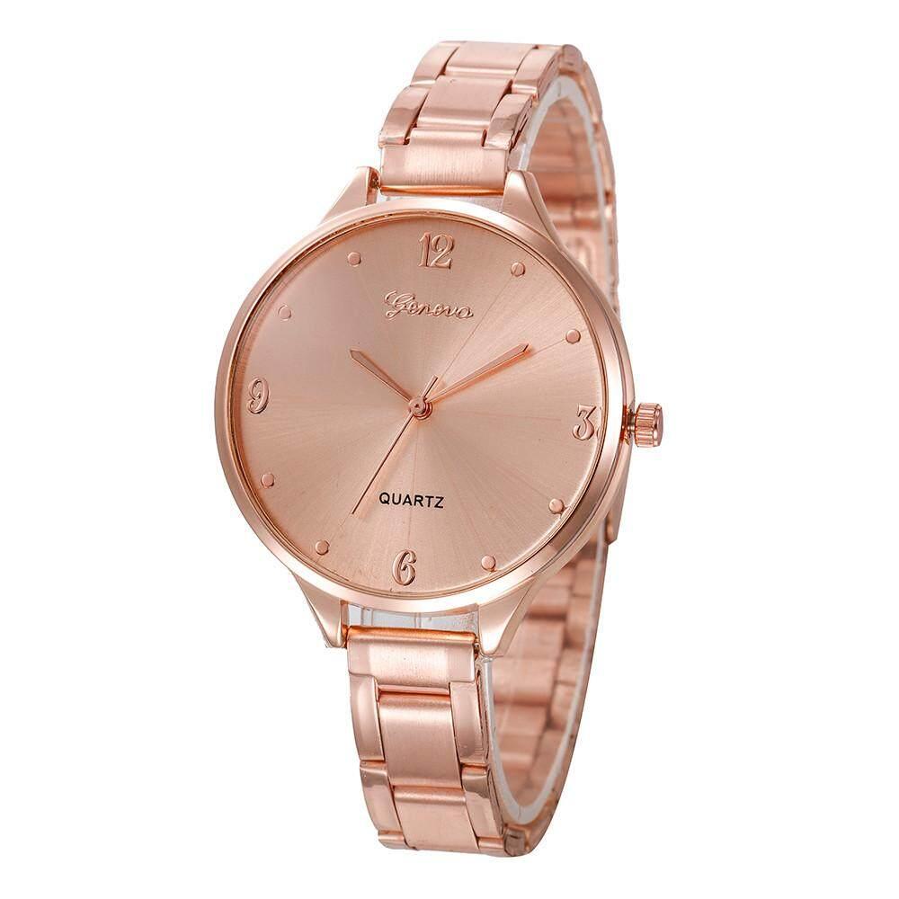 Nagostore แฟชั่นผู้หญิงคริสตัลสแตนเลสนาฬิกาข้อมืออะนาล็อกควอตซ์นาฬิกา