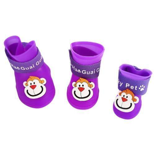 2 PAIR DOG CAT RAIN SHOES LOVELY MONKEY PATTERN DURABLE SNOW-PROOF BOOT PET SUPPLIES (PURPLE)