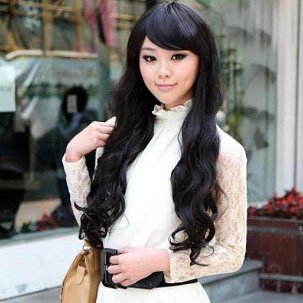 Amart Fashion Bandung Gadis Panjang Besar Keriting Bergelombang Rambut  Palsu Sintetis Hitam Wig Penuh-Intl 6bbe6d5924