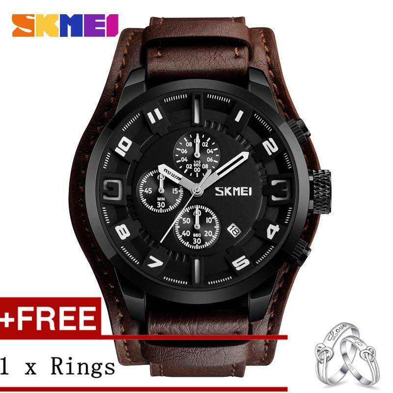 DOTEC SKMEI 9165 Men Business Fashion Watches Leather Quartz Removable Waterproof Digital Watch + Free a Couple Rings