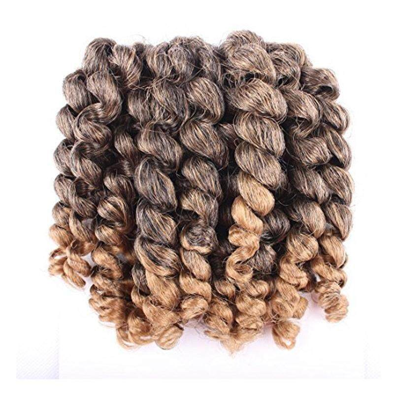 [Alivovo] Alivovo 8 Inch Jumpy Wand Curl Braids Hair 4 Packs/Lot 20 Roots Jamaican Bounce Crochet Twist Braids Sensational African Collection Braiding Hair 110g (Black & Brown) [From USA] - intl