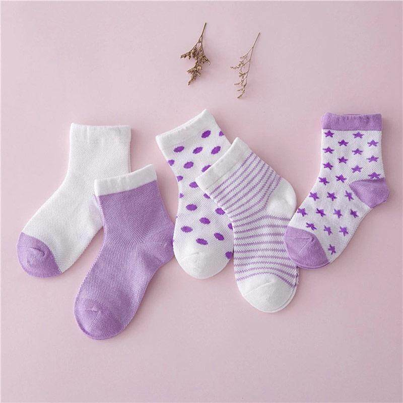 5 Pairs Same Colors With Different Types Of Socks For Boys Girls Size M