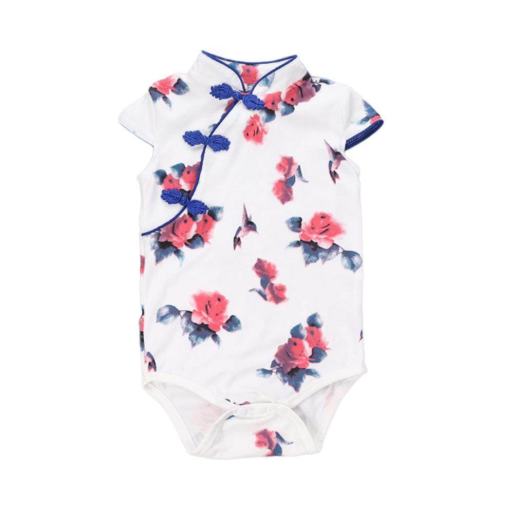 7619696d5cfd0 Baby Girls Fashion National Style Cheongsam Cute Simple Soft Cotton  Bodysuit Jumpsuit