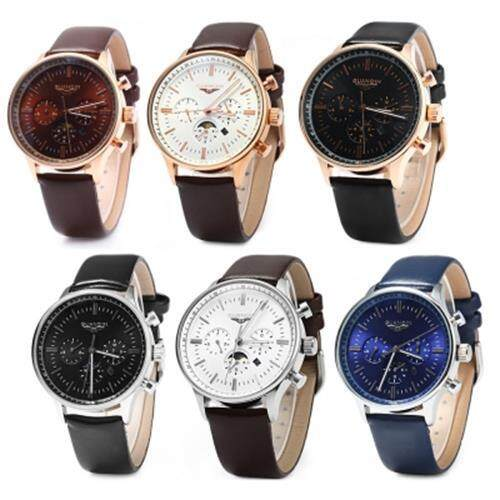 GUANQIN MALE LEATHER CALENDAR LUMINOUS ANALOG QUARTZ WATCH WITH MOVING SUB-DIALS (BLACK GOLDEN BLACK)
