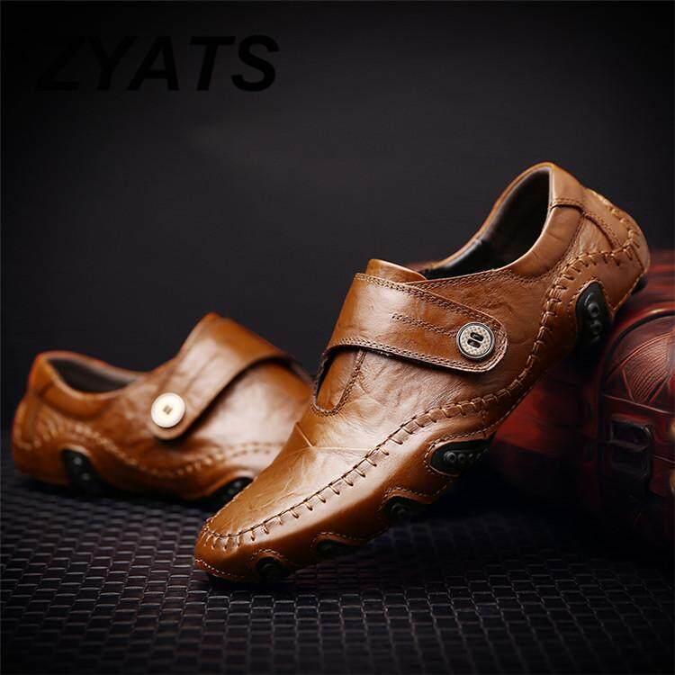 Zyats Kulit Asli Pria Bernapas Kasual Sepatu Kerja Sepatu Kulit Formal Mengemudi Malas Sepatu Sepatu atau Selip-On Size38-46