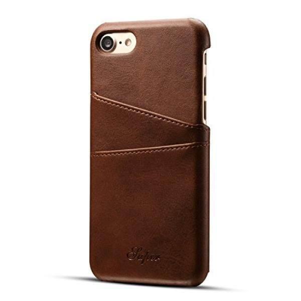 IPhone 8/Kulit iPhone 7 Kartu Case, Fashioneey Minimalis Dompet Kulit Sintetis Case, ultra Ramping Profesional Sarung dengan 2 Slot Kartu Penahan untuk iPhone 8/Iphone 7 (Coklat)-Internasional