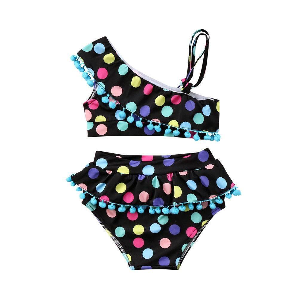 93a79f5cd4d4 Sweet Kids Baby Girls Polka Dot Swimsuit Swimwear Bathing Suit 2pieces  Tankini Travel Beach Bikini Set