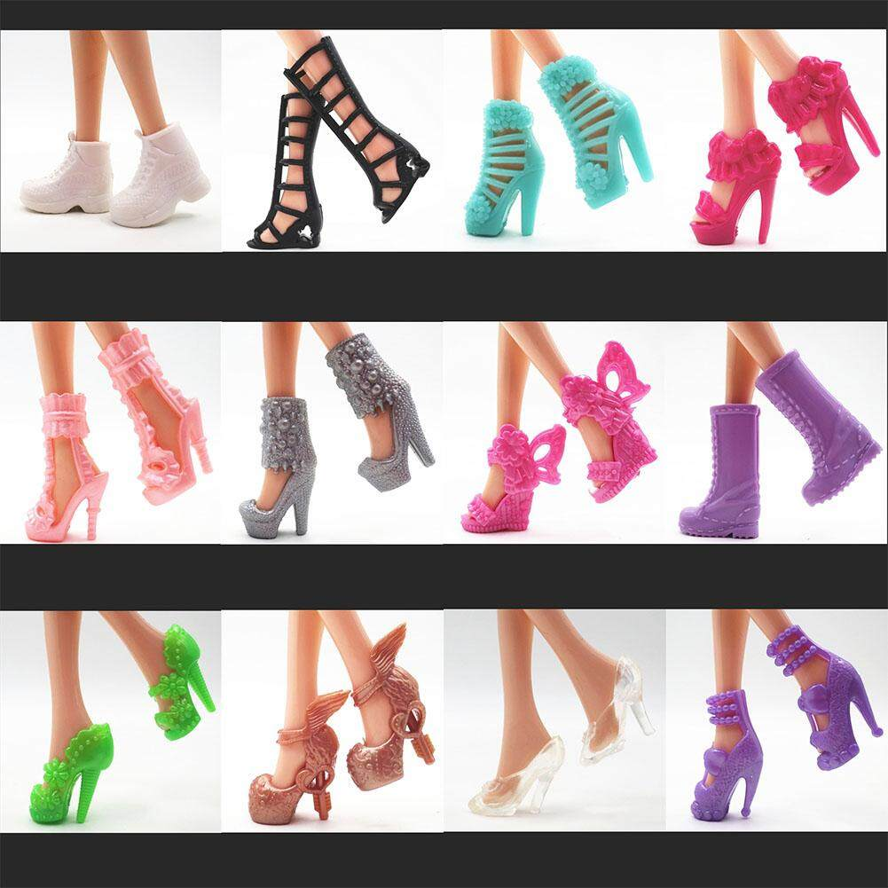 12Pairs/Set Assorted Fashion Colorful Mixed Style Sandals High Heels Shoes doll Accessories Clothes