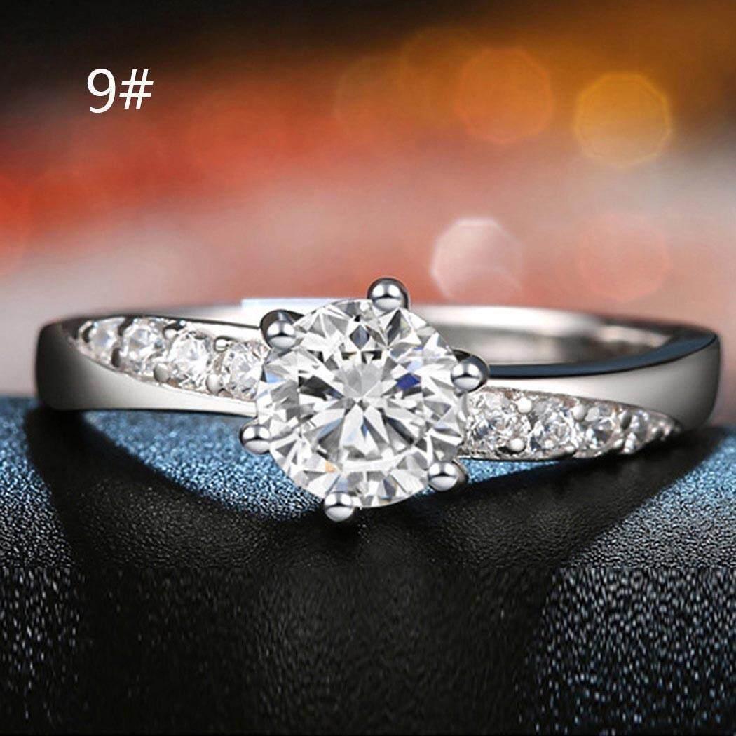 Linemart Wanita Trendi Kristal Berlian Bentuk Cincin untuk Pesta Malam UKURAN 6 7 8 9-Internasional