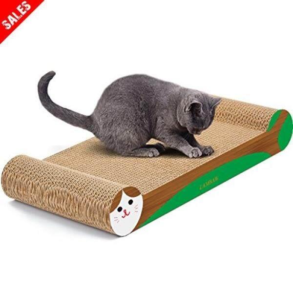 Lambaw Kucing Scratcher Ramah Lingkungan Karton Bergelombang Goresan Bantalan Lounger Tempat Tidur Kitty Bermain Lounge Istirahat Kedua Sisi Digunakan-Lindungi Furniture tetap Sehat Kucing Cakar-Tulang Bentuk Hijau-Internasional