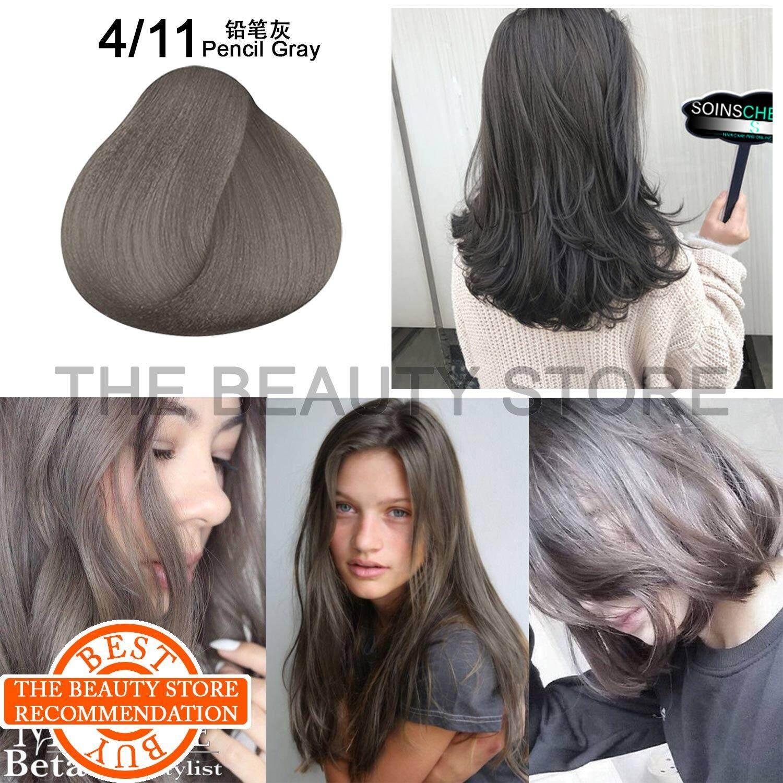 4/11 Pencil Gray Color Dye Hair Cream Free Developer / Peroxide 100ml