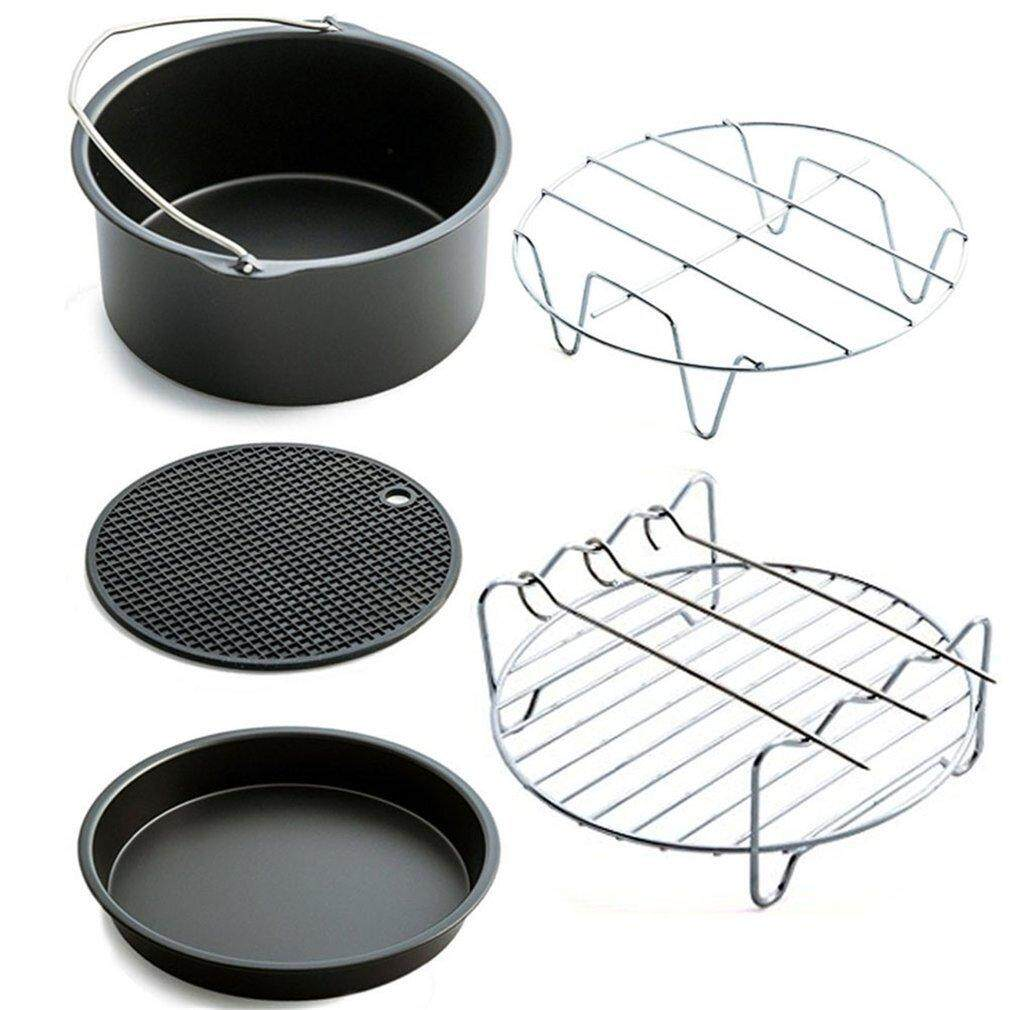 Good 5pcs/set Air Fryer Accessories Baking Basket Pizza Plate Grill Pot Pan Mat Black By Good Good Shop.