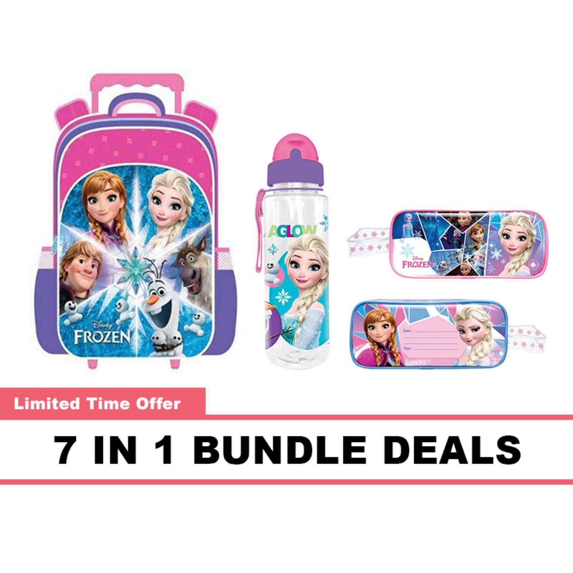 Disney Princess Frozen Pre School Kindergarten Nursery Kids Children School Trolley Bag 650ML BPA Free Water Bottle With Straw Square Pencil Bag Pencil Eraser Ruler & Sharpener 7 In 1 Bundle Deals