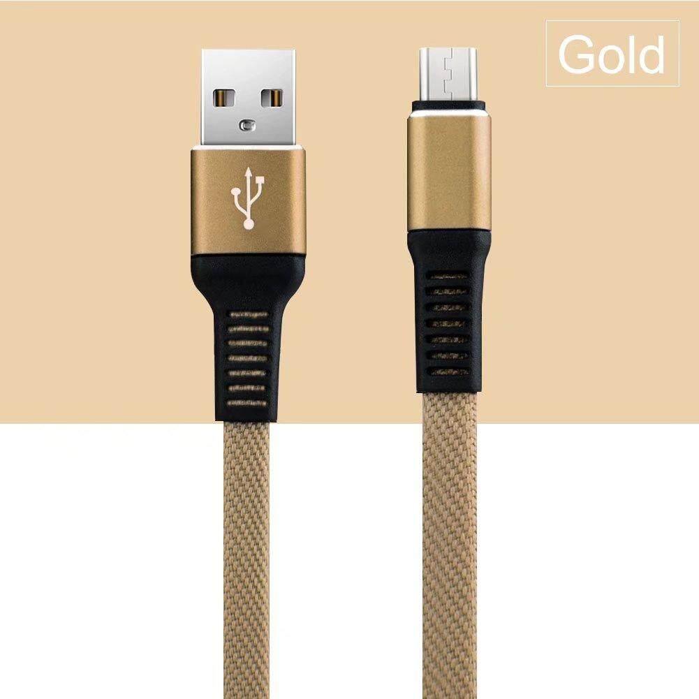 To Andoid Samsung Sony OPPO Vivo Kanvas Braid Bentuk Datar Mikro Usb Pengisian Data Sinkronisasi Kabel (1 M) -Internasional