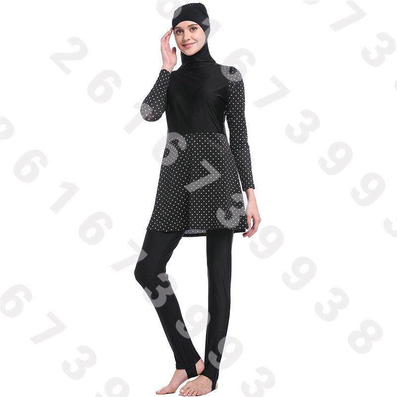 f10e2583605 3pcs Sets Hijab Full Coverage Muslim Swimwear Islamic Bodysuit Muslim Women Conservatism  Swimsuit Arab Swimming Beachwear