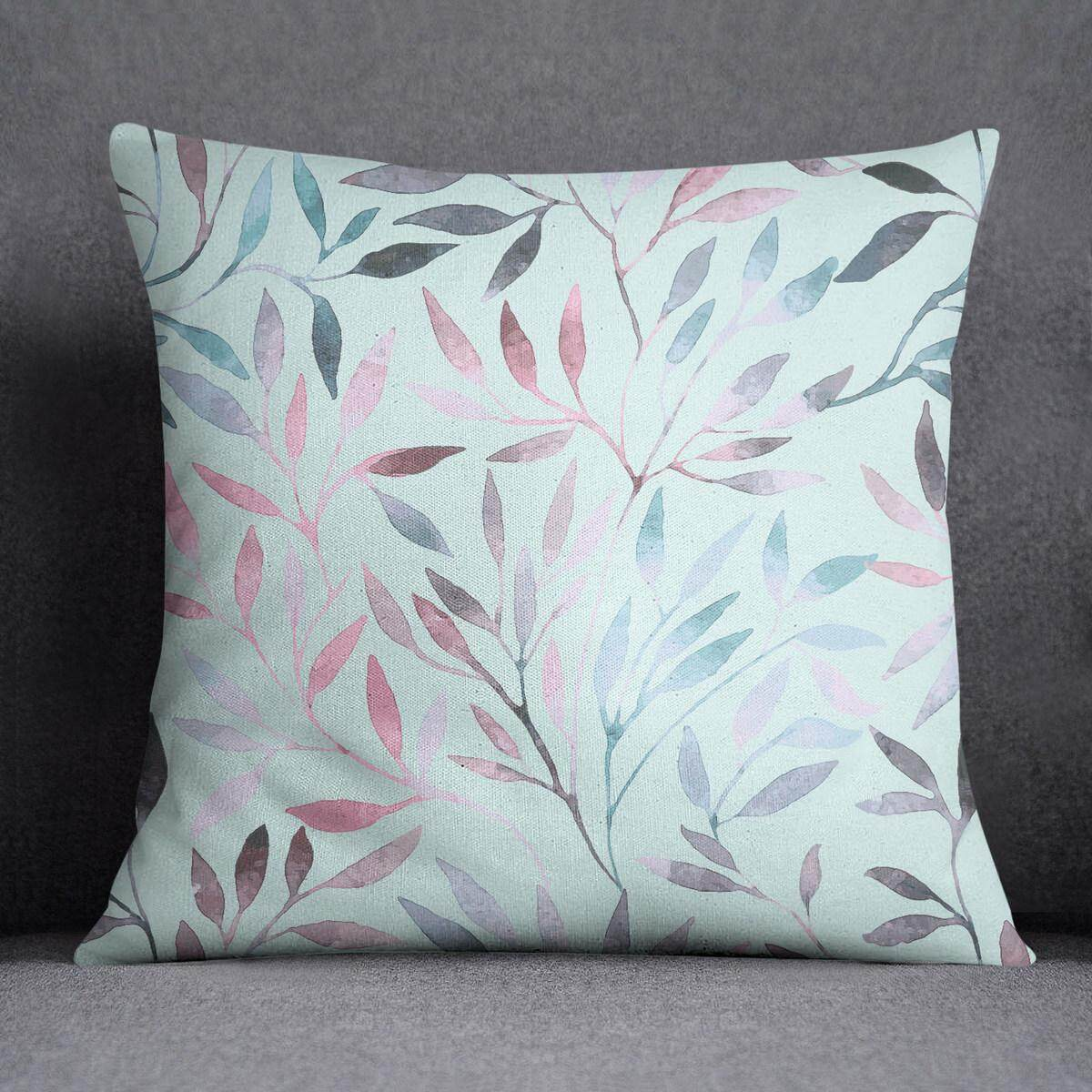 S4Sassy Pillow Cover Leaves Printed Throw Satin Cushion Cover 22x22 Inches, Light Blue - intl