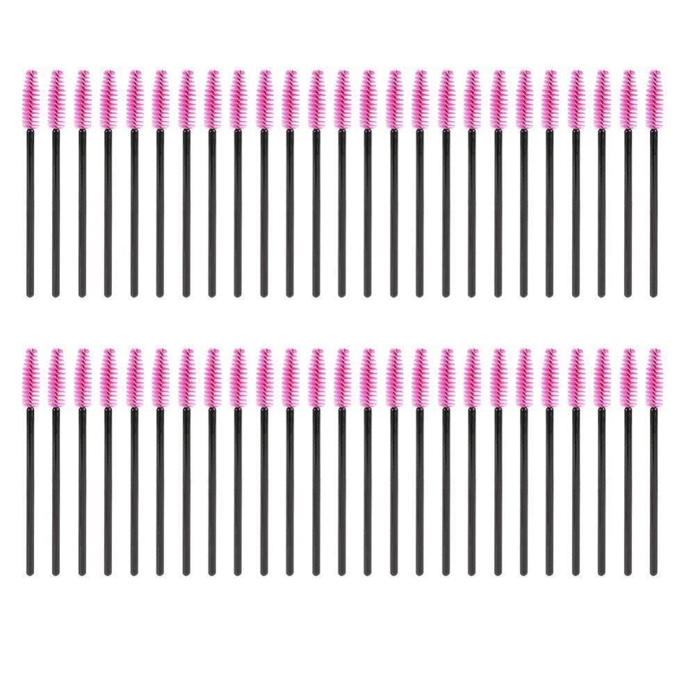 50Pcs/Set Disposable Eyelashes Brush Mascara Applicator Eyes Makeup Tool (Black Rose Red) - intl Philippines