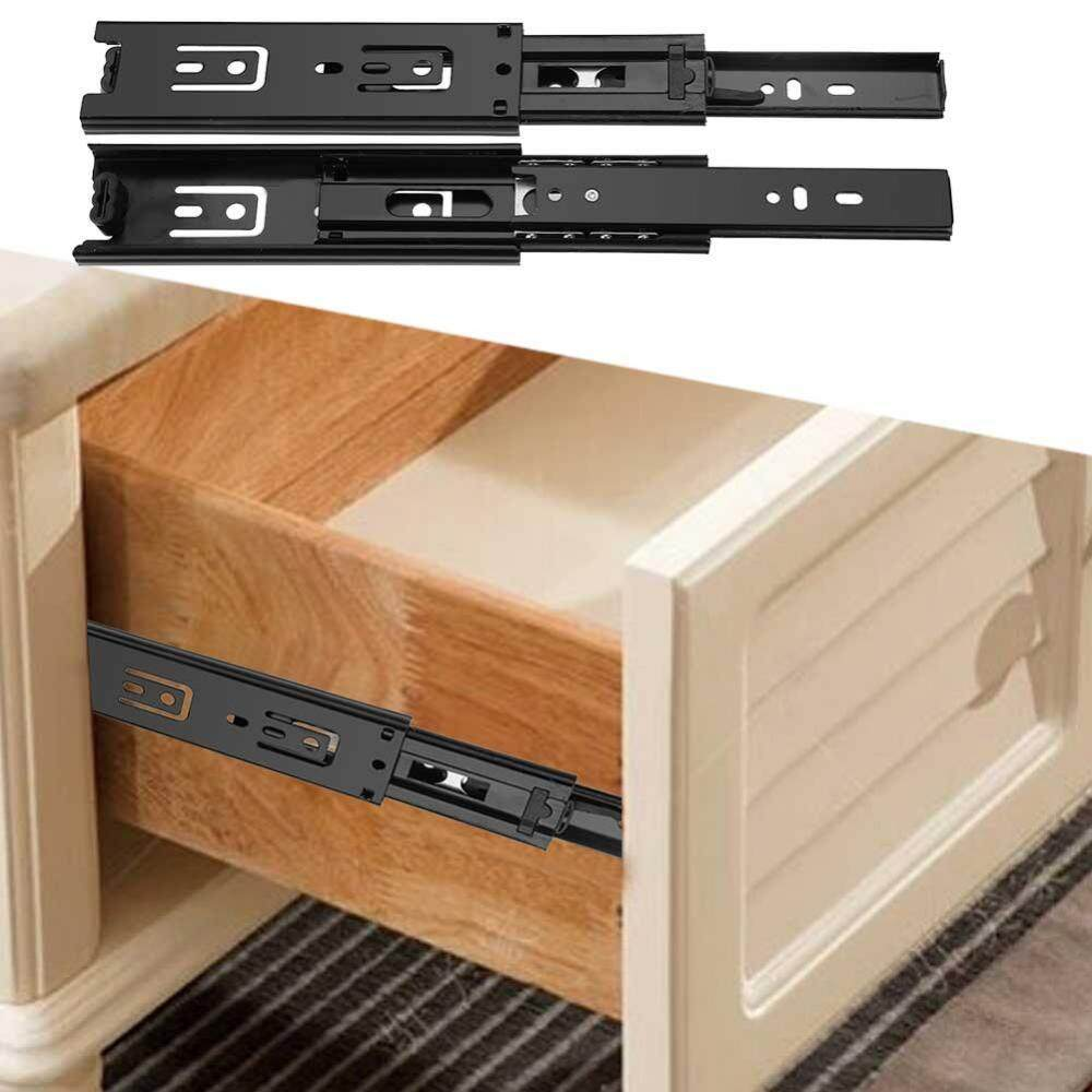 2pcs Mini Short Drawer Slides Furniture Guide Rail Full Extension Kitchen Cupboard Hardware 4in - intl