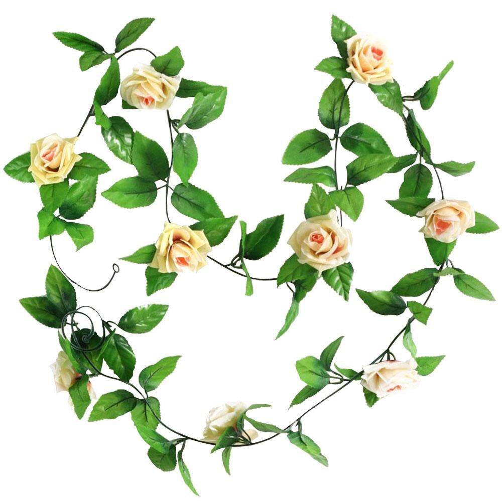 yuwen Artificial Hanging Vine Plant Rose Leaves Garland Home Garden Wall Decoration, Champagne