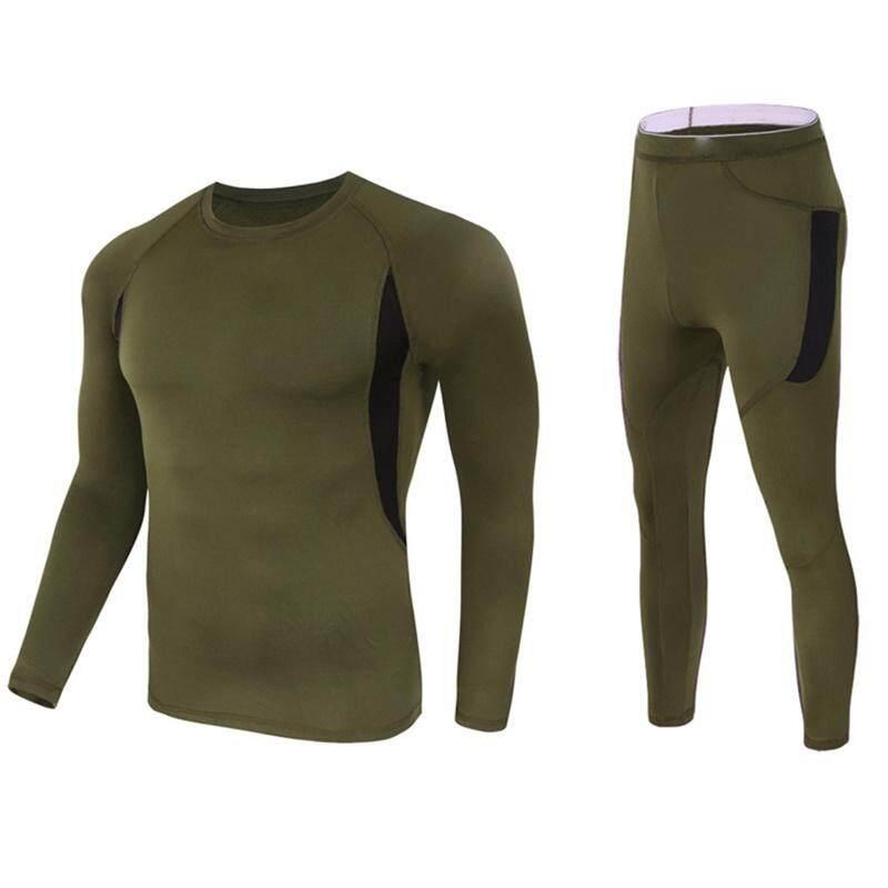 Hangat Bernapas Elastisitas Bulu Panas Pakaian Dalam Panjang Sleeves Kaus Celana Set Olahraga Pakaian untuk Pria Wanita Warna: hijau Angkatan Darat Ukuran: XXXL Keberuntungan-G-Internasional