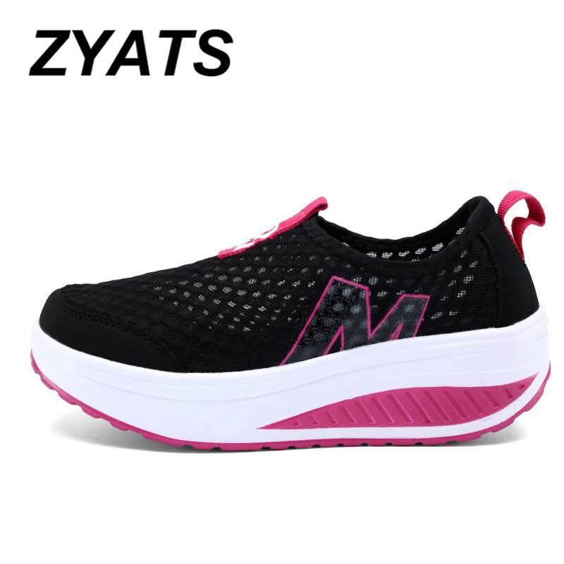ZYATS 2018 Baru Wanita Tinggi Meningkatkan Sepatu Kasual Swing Wedges Sepatu Bernapas Hot 5 Warna - 2