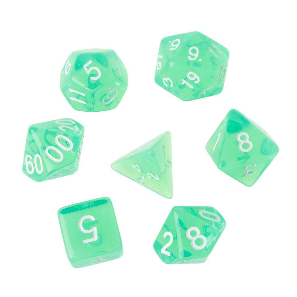 7Pcs Clear Polyhedral Game Dice For Dragon Pathfinder D20 D12 2xD10 D8 D6 D4 - intl