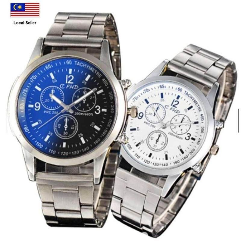 (SET OF 2) FHD 2018 Fashion Mens Watches Stainless Steel Band Men Sport Quartz Wrist Watch Malaysia