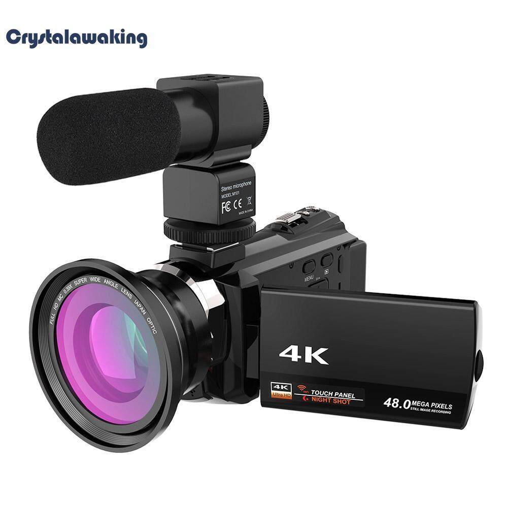 WiFi 4K 16X ZOOM Digital Video Camera Camcorder+Microphone+Wide Angle Lens (Black)