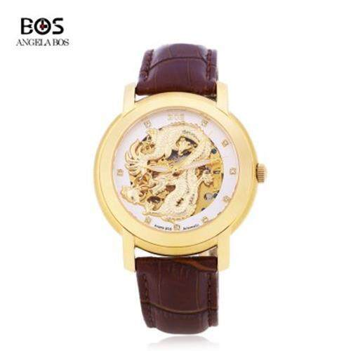 ANGELA BOS 9007G MEN AUTOMATIC WIND MECHANICAL WATCH 3ATM LUMINOUS DRAGON PATTERN ARTIFICIAL DIAMOND DIAL WRISTWATCH (WHITE AND BROWN)