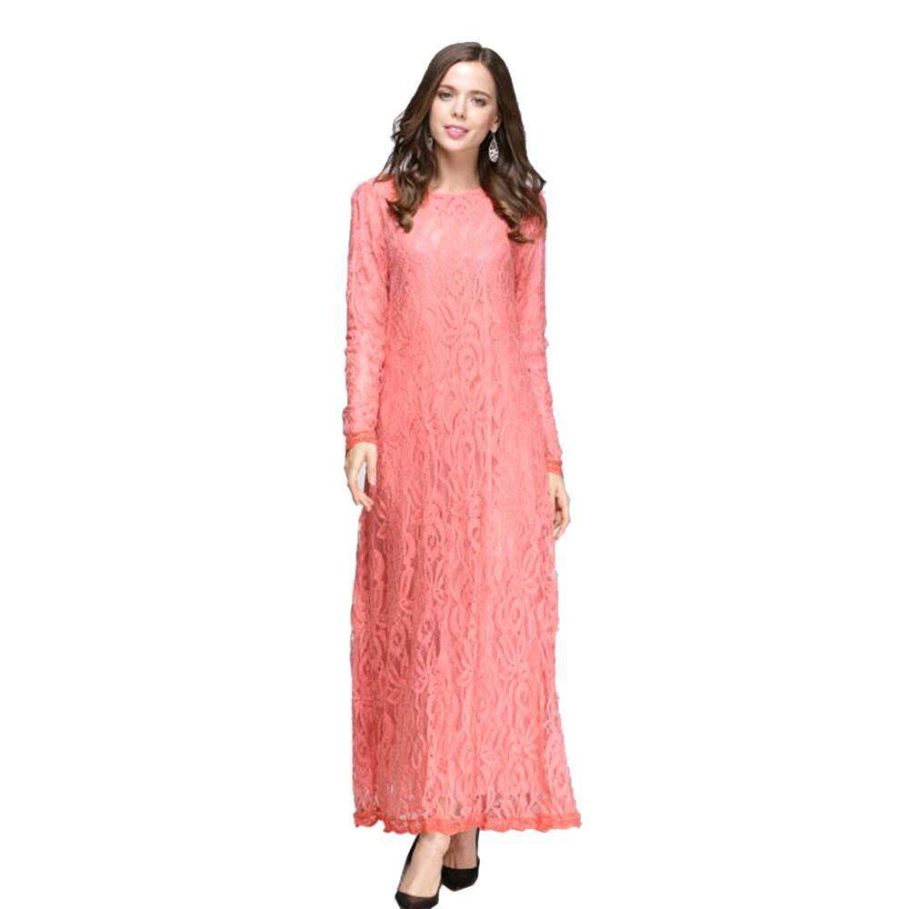 Cek Harga 2017 Bubble Sleeve Lace Muslim Dresses Skirt Two Piece Anneyep Printed Flowers Kaftan Maxi Dress Women Malay Arab Jubah Jumpsuit Long Sleeved Dark Green