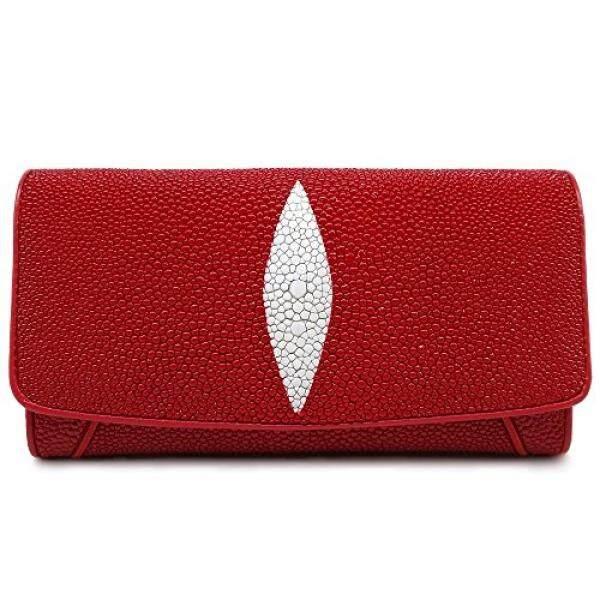 Stingray Genuine Leather Wallet Lady Classic Trifold Plain Color x9.5x3.5 CM - intl