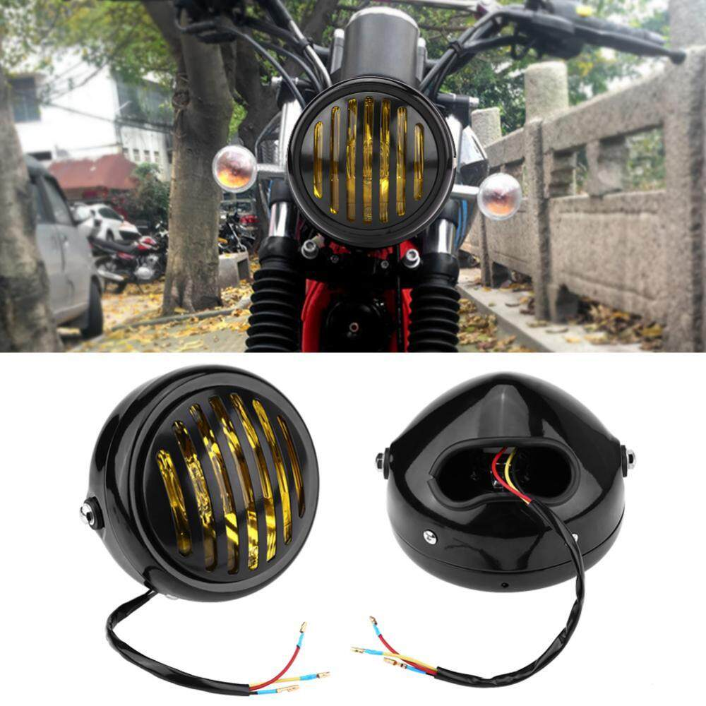 Motorcycle Head Lights For Sale Light Assemblies Online Automatic Bike Headlight Switch 63 Inch Vintage Black Grill Yellow Lens Universal Harley Cafe Racer Intl