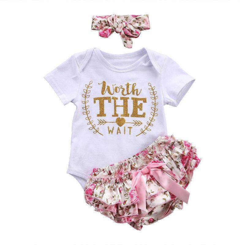 bd8a898f3f483 3Pcs Infant Baby Girls Summer Clothes Romper Playsuit Shorts Outfits Set  0-24 M