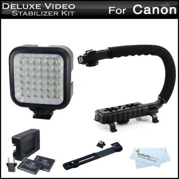 LED Lampu Video + Stabilisator Video Perlengkapan untuk Canon VIXIA HF R700, HF R72, HF R70, HF R62, HF R60, HF R600, R82, R80, r800 Termasuk Video Bracket Aksi Pegangan Penstabil + LED Lampu Video Kit W/Bracket-Intl