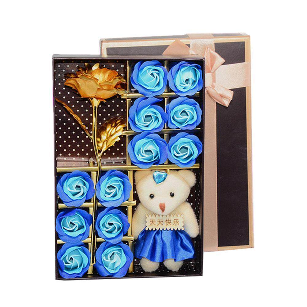 Shentong Romantic Rose Soap Flower Set With Little Cute Bear Doll For Valentines Day Gifts/ Wedding Gift/birthday Gifts - intl