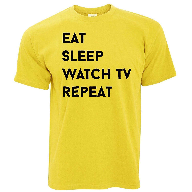 Tim dan Ted Eat Tidur Menonton Televisi Ulangi Hobi Televisi Chill Drama Komedi Kartun Kaus Pria Kuning-Internasional
