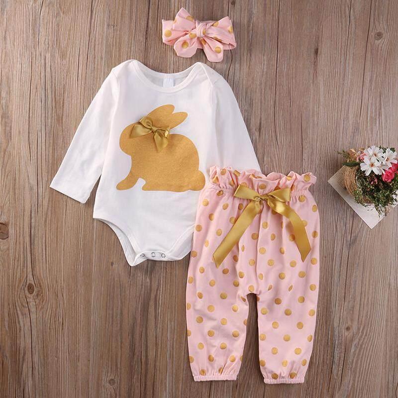 9a10ebb5f5b3e Infant Baby Girl Clothes Cotton Romper Playsuit Pants Outfits 3pcs Set -  intl