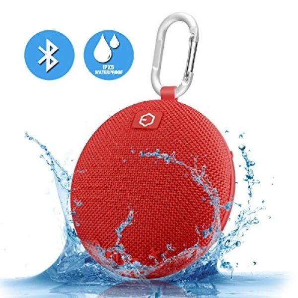 Portable Speaker,Ozzie Wireless Bass Stereo Bluetooth 4.0 Travel Outdoor Sport Speaker Waterproof Bluetooth Speaker Indoor Shower Mini Speaker with Carabiner - Handsfree Calling,5+ Hours (Red) - intl