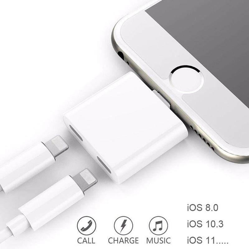 Starmall Dual 8 Pin Asli Chip Audio Adaptor Pengisi Daya untuk Earphone Headphone untuk iPhone 7 7 Plus 8 PLUS