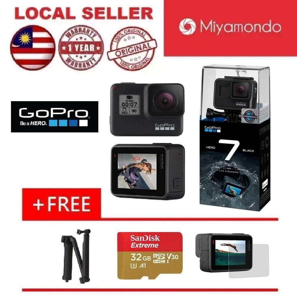 GoPro Hero7 (Black) + 3 Way Monopod + Sandisk Extreme 32GB MicroSD Card + Tempered Glass LCD Screen Protector
