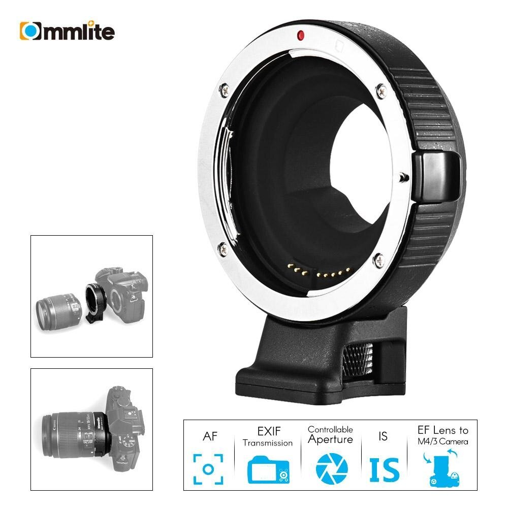Commlite CM-AEF-MFT Lens Adapter Support AF Auto Focus IS Stabilization Exif Transmission Electronic Aperture Control for EF/EF-S Lens to M4/3 Camera for Panasonic GH5 GH3 GH4 GX7 GF5 GF6 GX1 GM for Olympus PL5 PL6 OM-D E-M5 E-M1