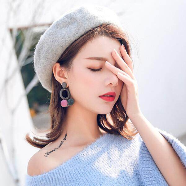 Edge Princess Korean autumn and winter new Korea Dongdaemun jewelry leather fur ball earrings female big earrings clothes accessories wild fashion brown(Gray ) - intl