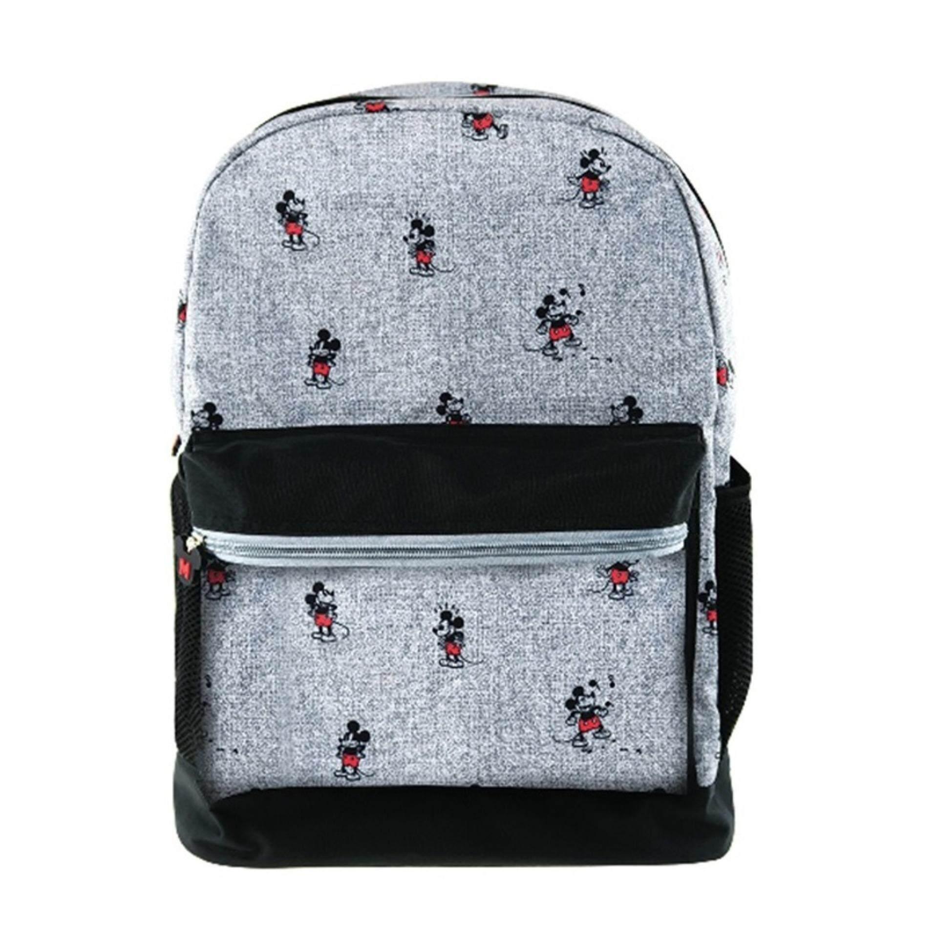 Disney Mickey Retro Teenagers Backpack School Bag - Grey Colour