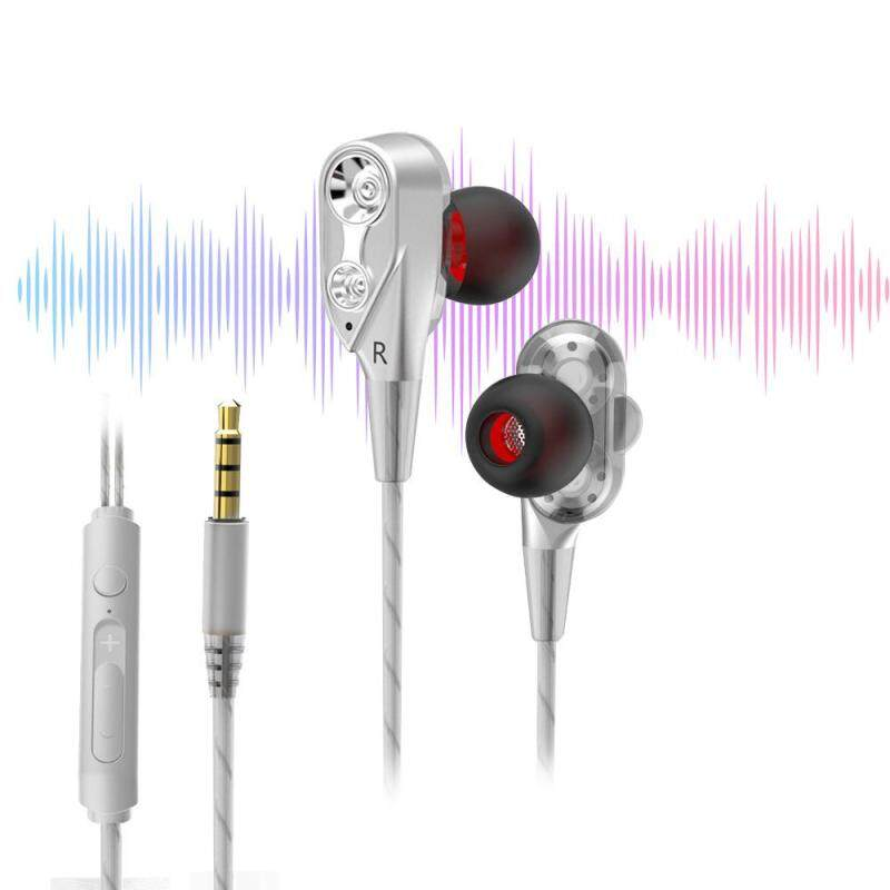 niceEshop In-ear Dual Sound Unit HIFI Headphone 3.5mm With Remote Control With Microphone Headset Earphone - intl Singapore