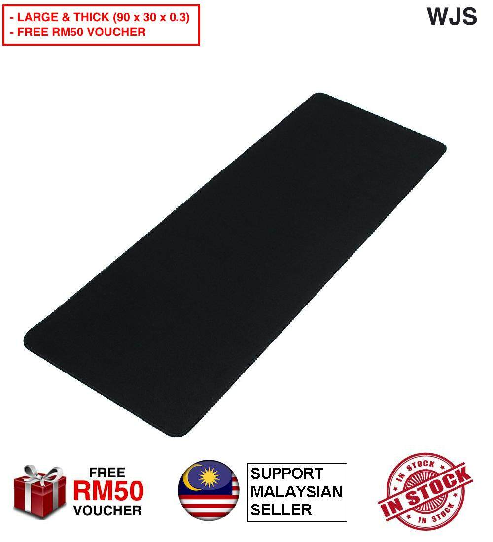 (FREE RM50 VOUCHER) WJS Large Gaming Mouse Pad Computer Rubber Pro Keyboard Mats Black 90cm x 30cm &amp 60cm x 30cm Mousepad (WITHOUT ANY LOGO)