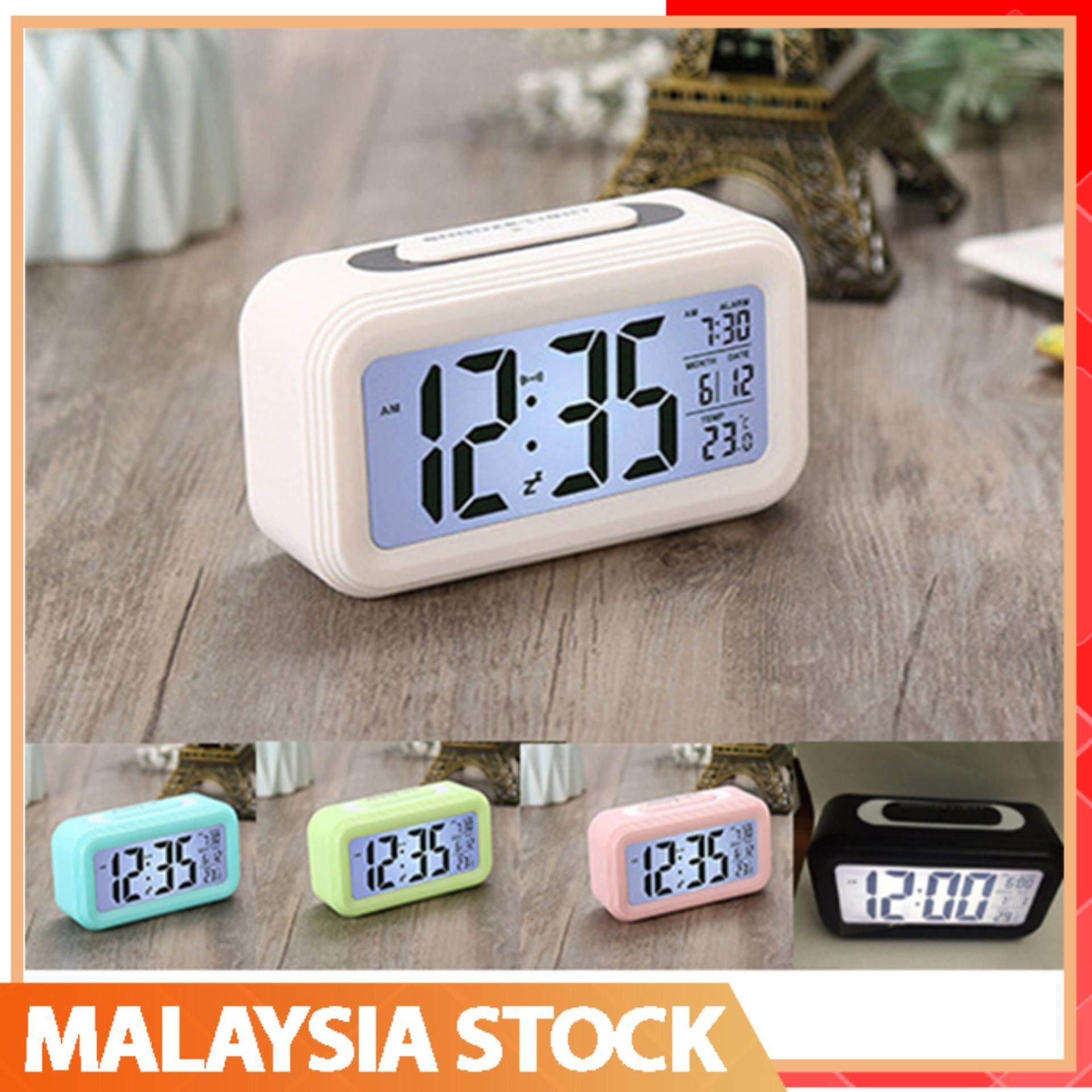 LED Clock Digital Snooze Alarm Clock Candy Color Backlight Time Calendar  Thermometer
